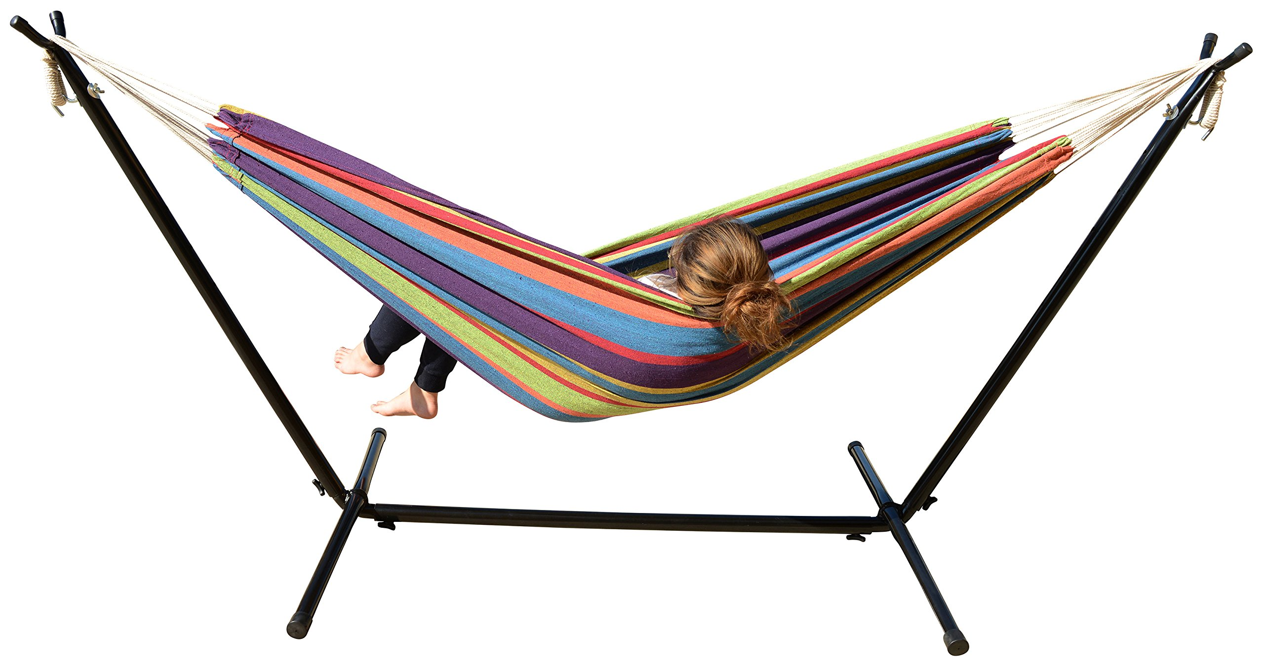Mano Patio Hammock with Stand, Tropical Stripes in Red/Purple/Yellow