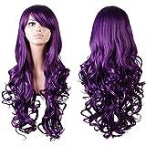 "Rbenxia Curly Cosplay Wig Long Hair Heat Resistant Spiral Costume Wigs Purple 32"" 80cm"