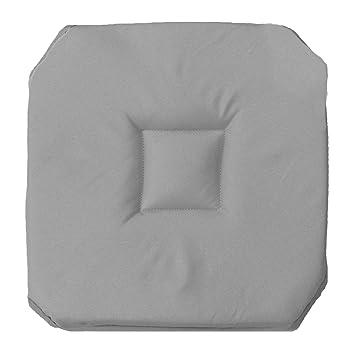 Douceur DInterieur Galette De Chaise Avec 4 Rabats Polyester Uni Essentiel Gris 35 X