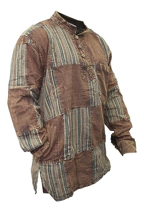 SHOPOHOLIC FASHION Hombre Deslavado Liso Rayas Parche Hippy Camisa - Marron, S: Amazon.es: Ropa y accesorios