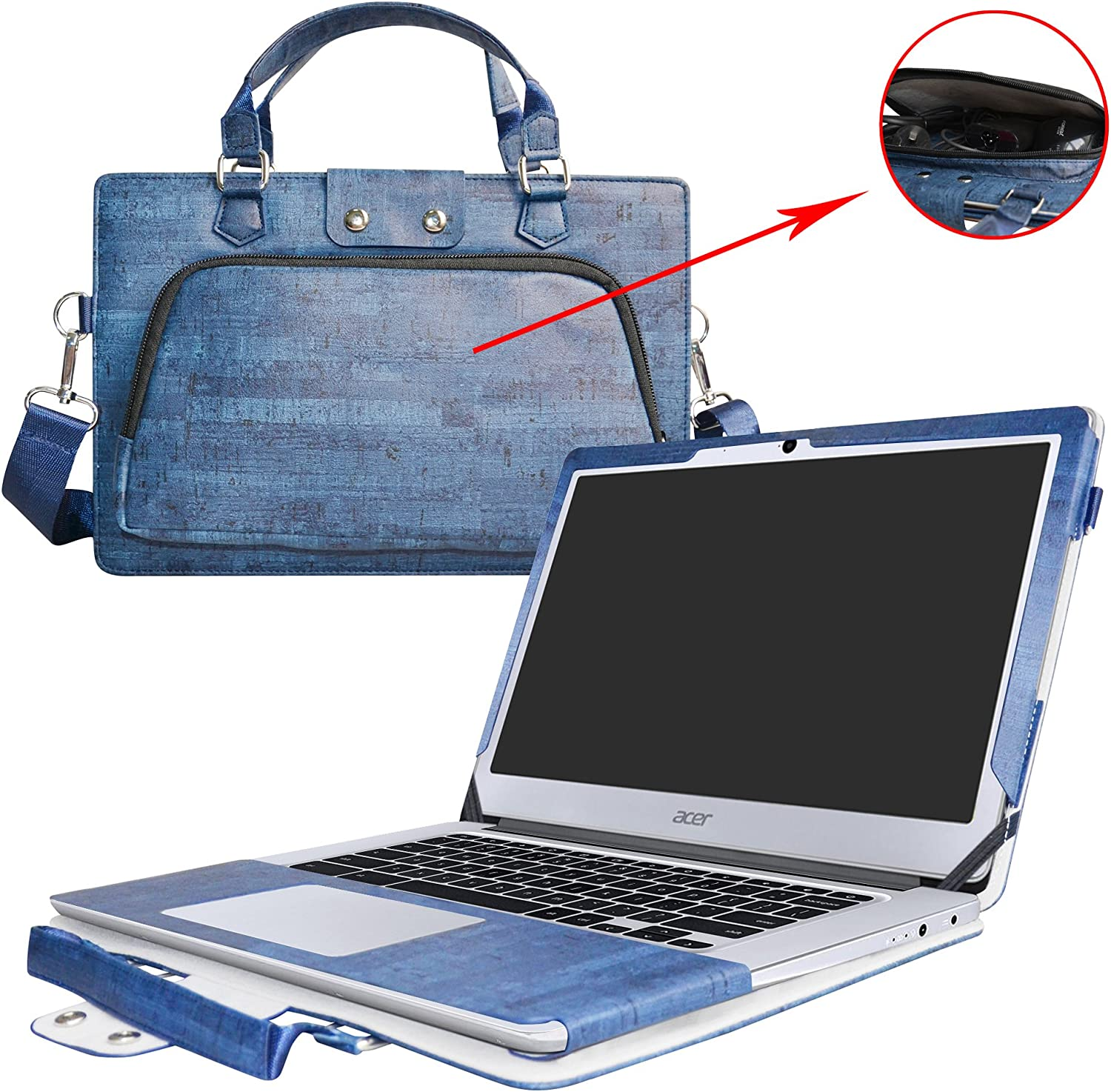 """Acer Chromebook 14 Case,2 in 1 Accurately Designed Protective PU Leather Cover + Portable Carrying Bag for 14"""" Acer Chromebook 14 CB3-431 Series Laptop(Not fit CP5-471 Series),Blue"""