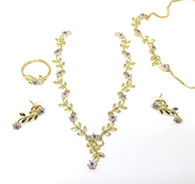 Buy Youshee Fashion American Diamond Combo White Ruby Necklace Set Jewellery Set With A D Stone For Women And Girls Online At Low Prices In India Amazon Jewellery Store Amazon In