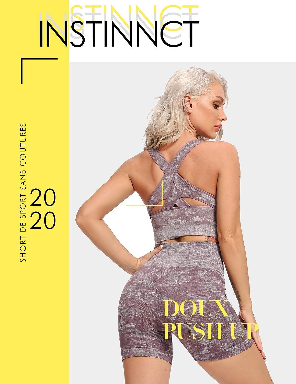 INSTINNCT Short de Sport Camouflage Femme sans Coutures Plissage Collant Running Court Taille Haute pour Fitness Gym Yoga
