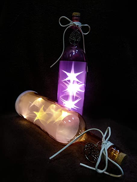 GOYAL® Combo of Decorative Bottle Hanging with LED Light (Pink, Peach)