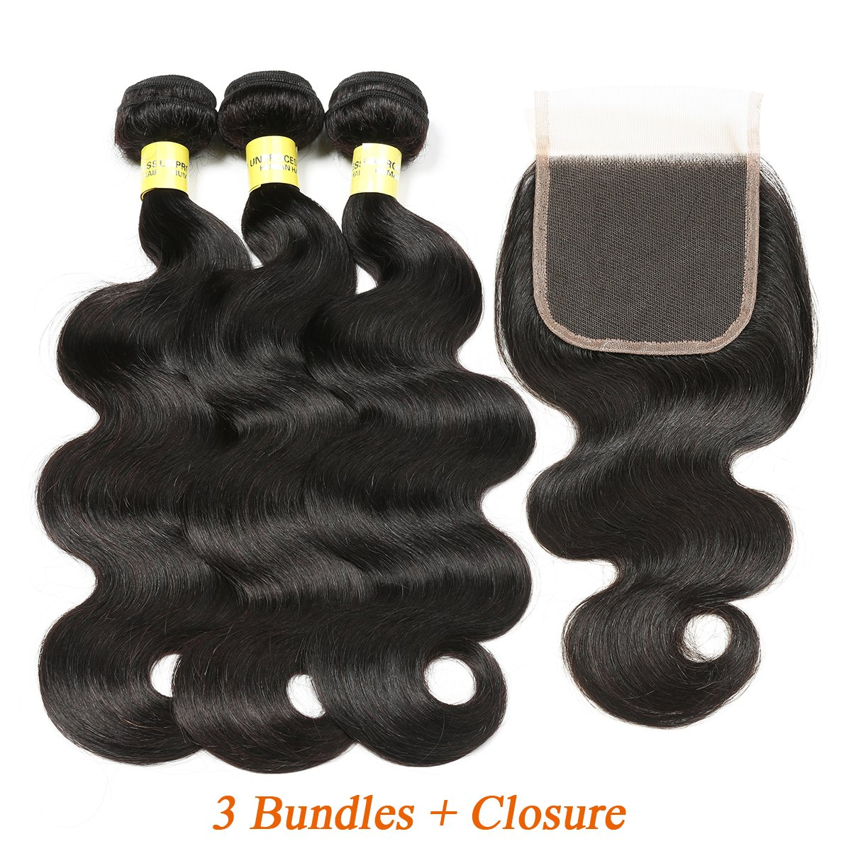Mureen Brazilian Hair With Closure 8A 3 Bundles Body Wave Virgin Human Hair Bundles With Lace Closure 100% Unprocessed Hair Extensions Natural Black Color (20 22 24 + 18, Three Part)