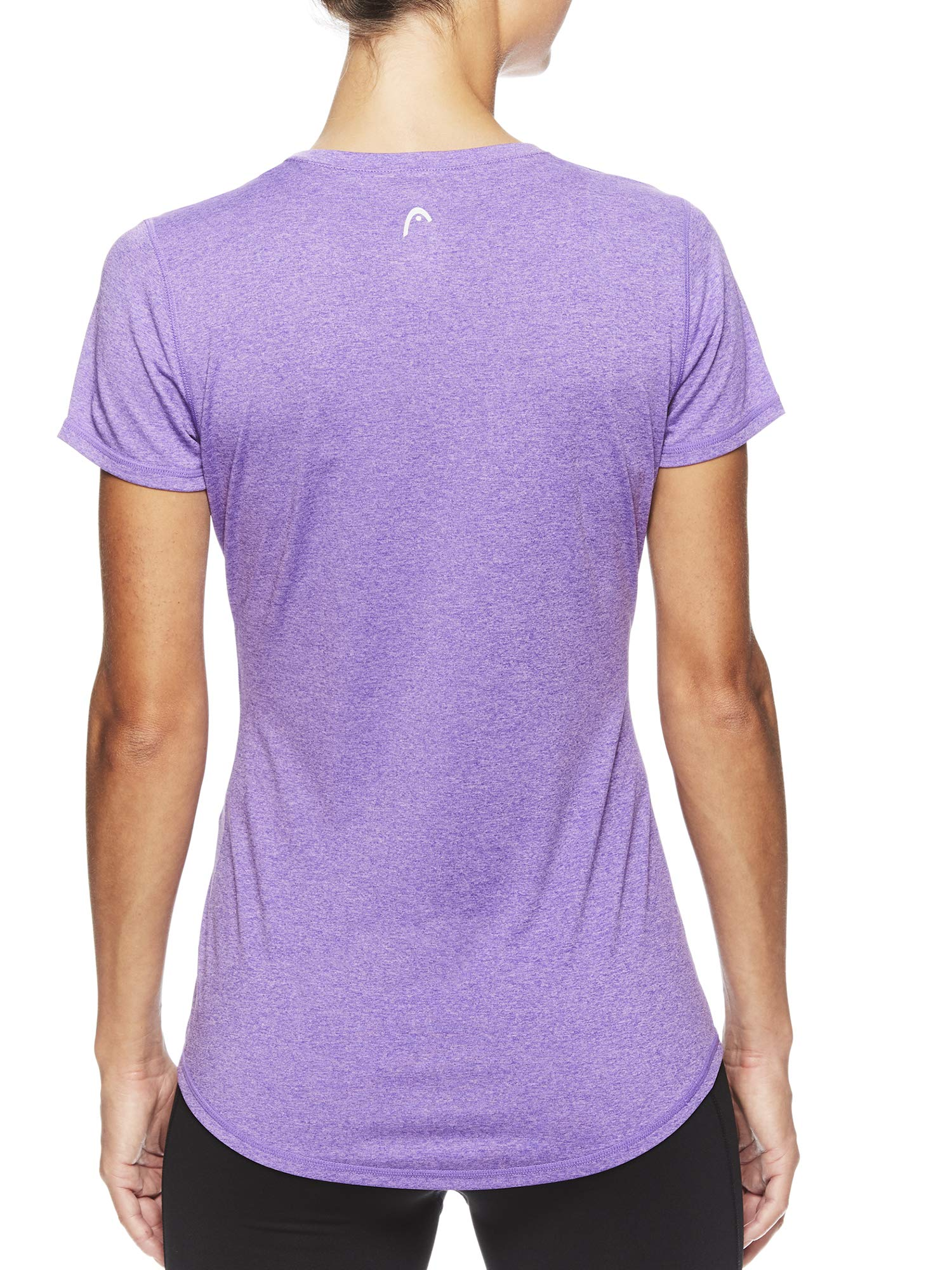 HEAD Women's Brianna Shirred Short Sleeve Workout T-Shirt - Marled Performance Crew Neck Activewear Top - Brianna Chive Blossom Heather, X-Small by HEAD (Image #3)