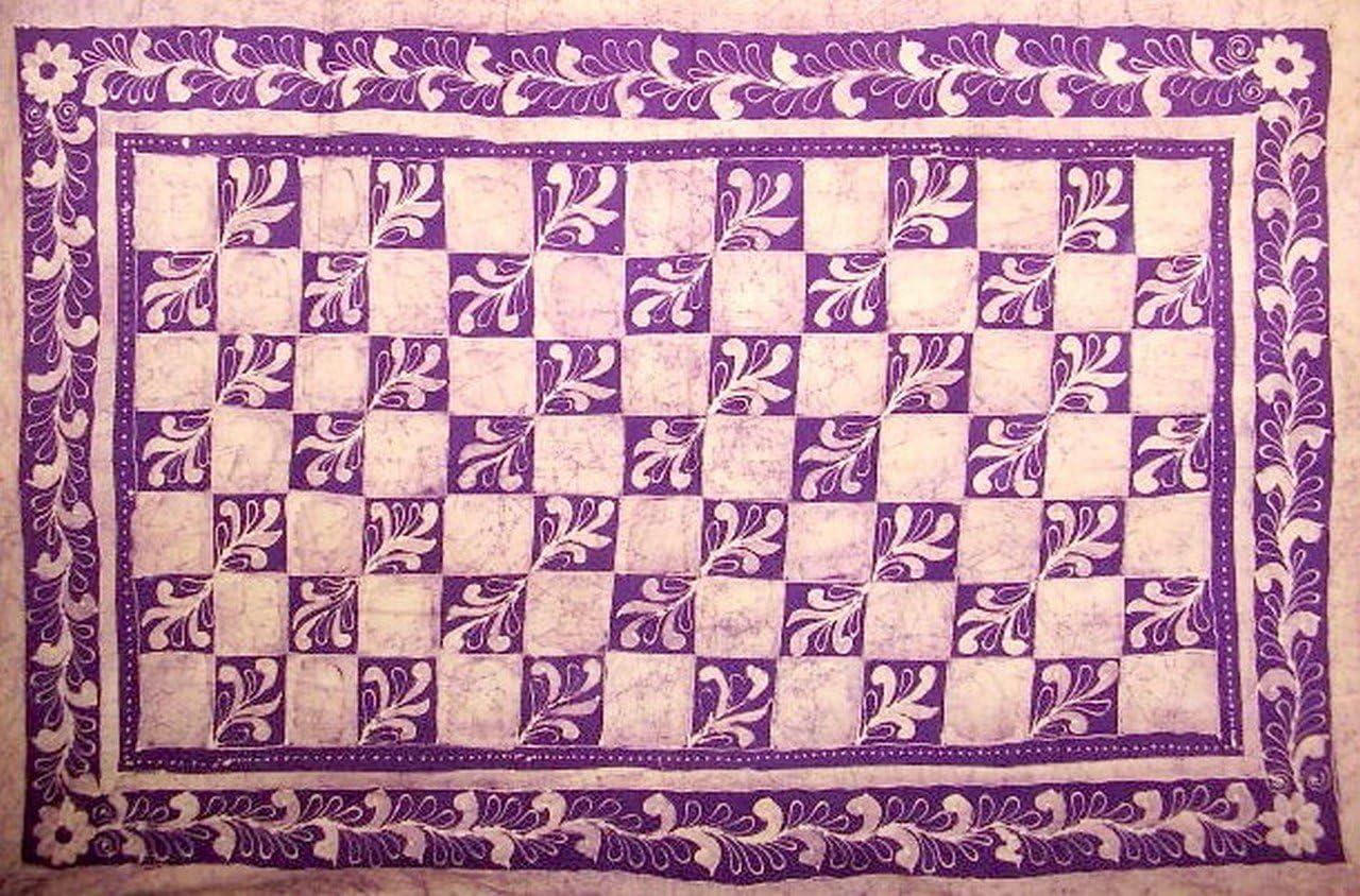 Patchwork Batik Tapestry Cotton Spread 106 x 72 Twin Purple