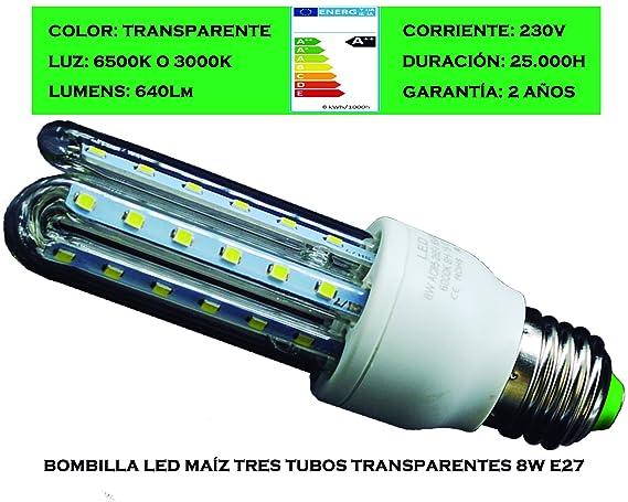 Tubombiled - Bombilla LED Maíz Tres Tubos Transparentes 8W E27 Luz Fría o Luz Cálida (