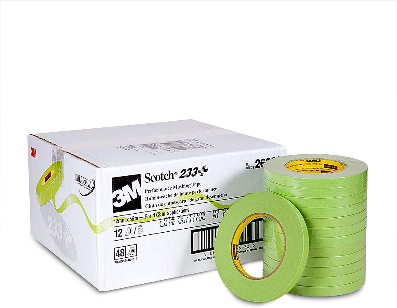 Scotch Performance Masking Tape 233+, 26332, 12 mm x 55 m