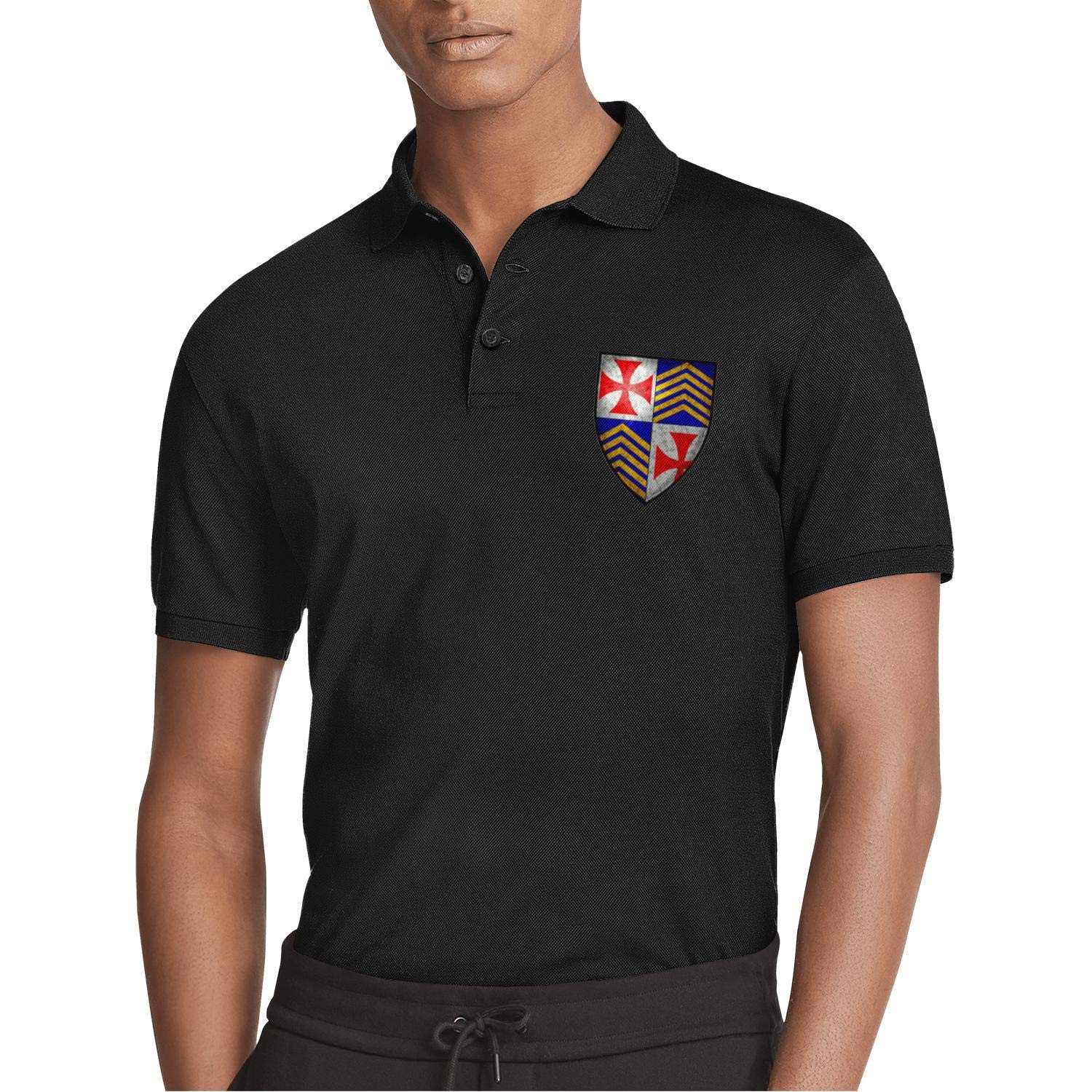 ZWZHI All Things Knights Templar Printed Mens Polo Shirt Office Light Weight Shirt Top