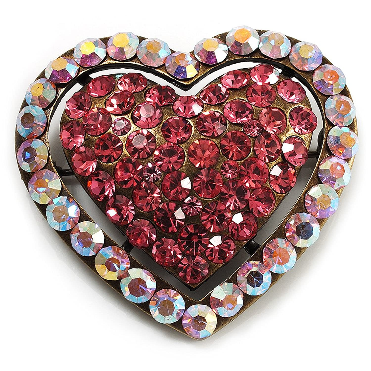 Avalaya Pink Diamante Pave Set 'Heart' Brooch In Silver Plating - 3.5cm Length 1ipYGZC