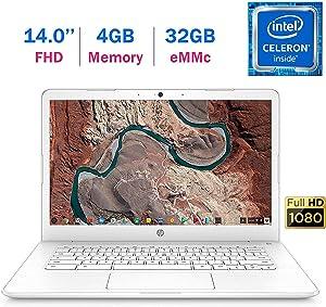 HP Chromebook 14-inch (1920x1080) FHD IPS WLED-Backlit Display Laptop PC, Intel Dual Core Celeron N3350 up to 2.4GHz, 4GB LPDDR4 RAM, 32GB eMMC, B&O Play, Webcam, Bluetooth, Chrome OS