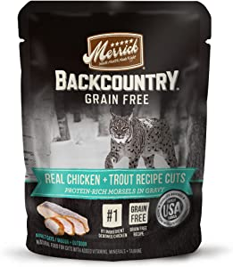 Merrick Backcountry Grain Free Real Meat Wet Cat Food Chicken & Trout (24) 3oz pouches