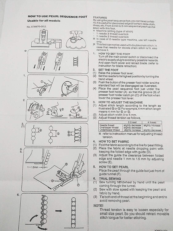 YICBOR X76590002 - Prensatelas para dobladillo ciego para Brother Serger 600,900: Amazon.es: Hogar