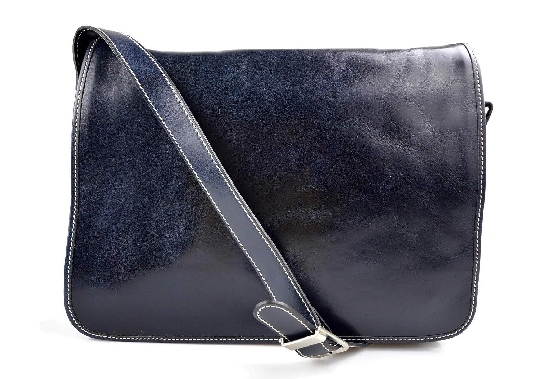 Bolso messenger de piel azul bandolera de cuero bolso cartero bolso de hombre piel cartera de cuero bolso de espalda maletin de piel
