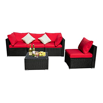 DOIT Patio Sofa for Backyard Decor,Balcony Furniture Patio Sets, Outdoor Seating Patio Set,Outdoor Patio Set (5pcs Red)
