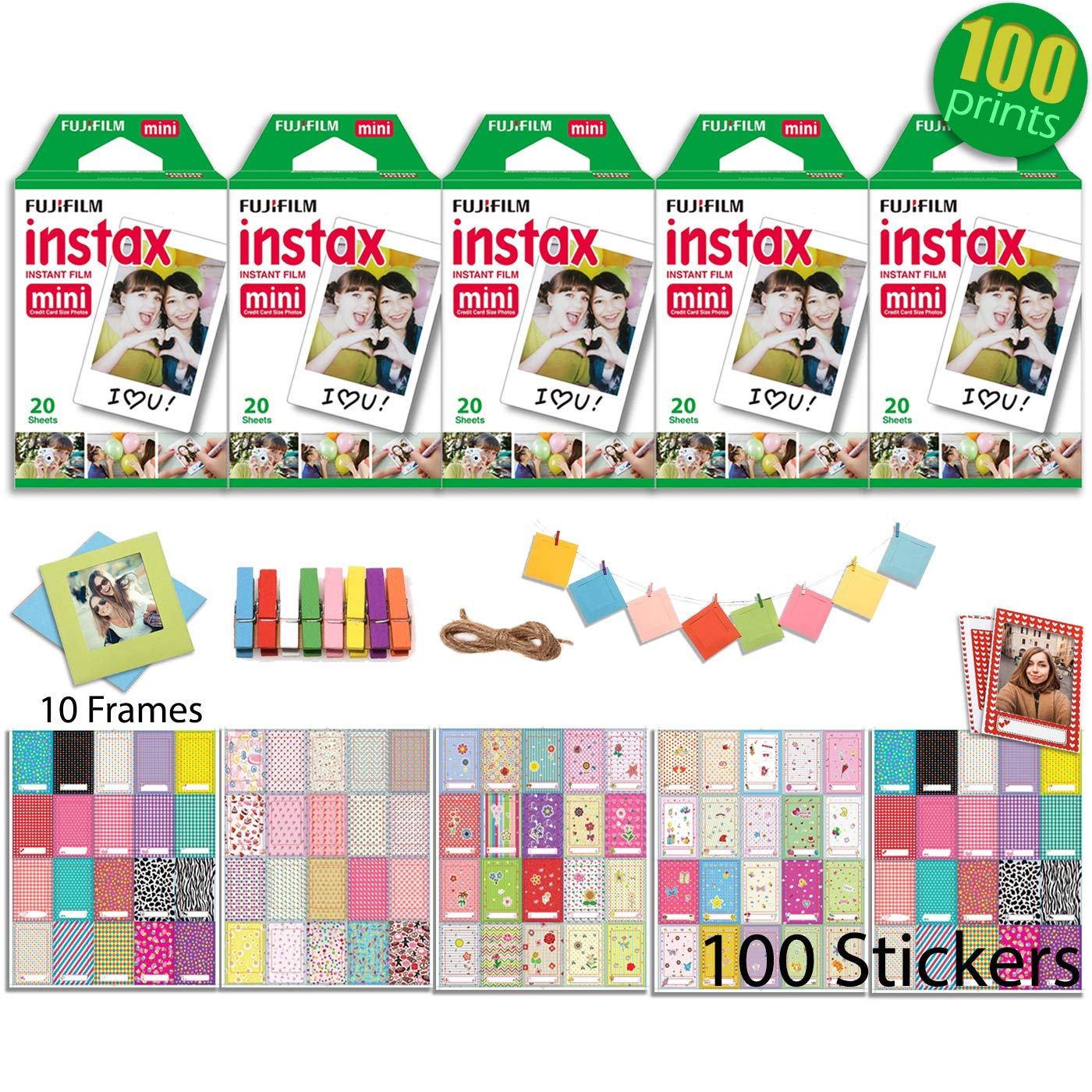 Fujifilm INSTAX Mini Instant Film 5 Twin Packs - 100 prints (White Border) with 100 Picture Frame Stickers and 10 Hanging Frames