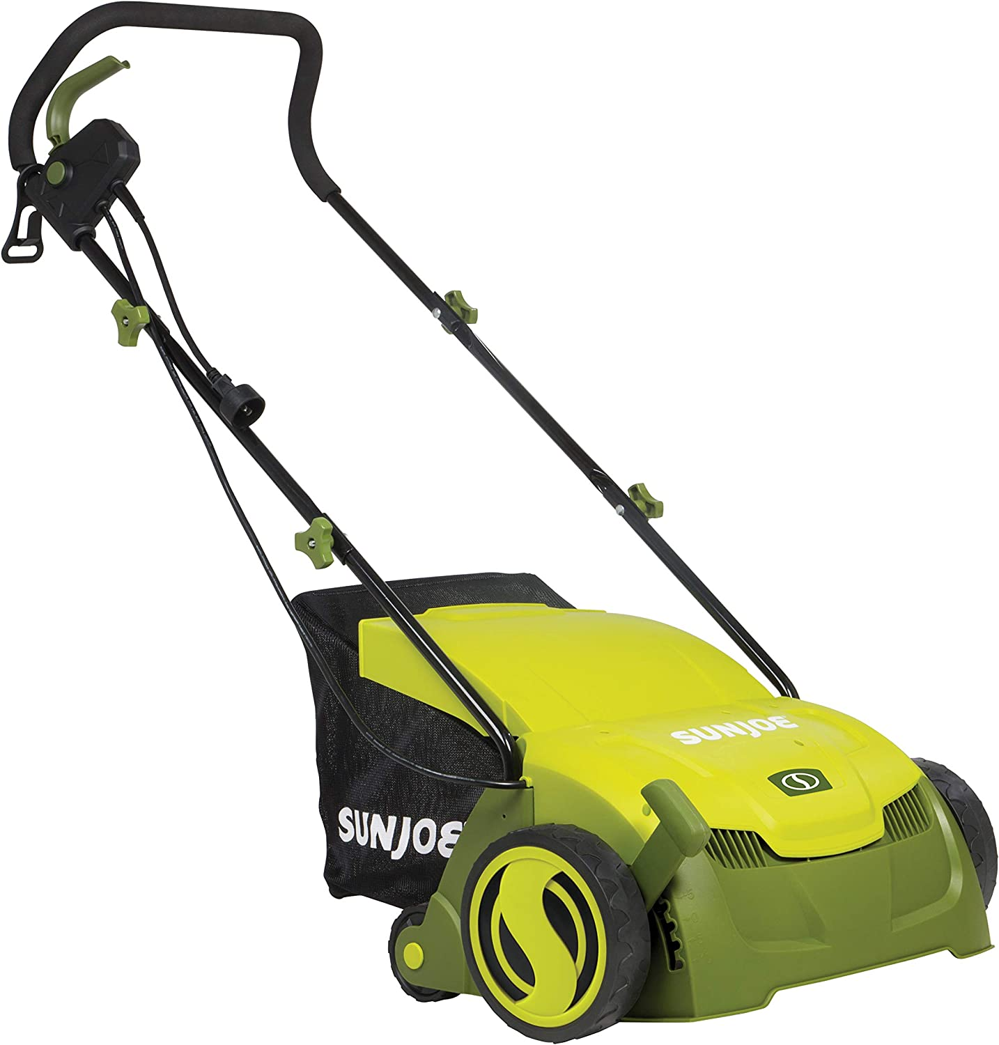 Sun Joe AJ801E 13 in. 12 Amp Electric Scarifier Lawn Dethatcher w Collection Bag, Green