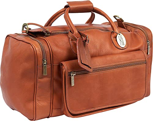 Claire Chase Classic Sports Leather Duffel Bag, Valise, Travel Luggage in Saddle