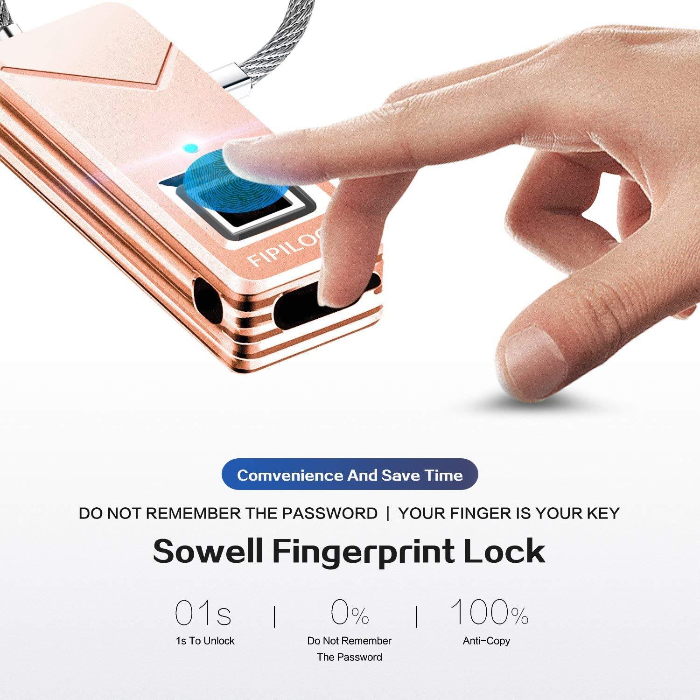 Cerradura de huellas dactilares, candado de seguridad portátil sin contraseña, 360 ° touch 1 segundo maleta de desbloqueo rápida, liviana e impermeable, ...