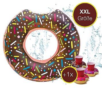XXL Buñuelo Flotator mordido inflable con Hinchable Donut de Fresa ...