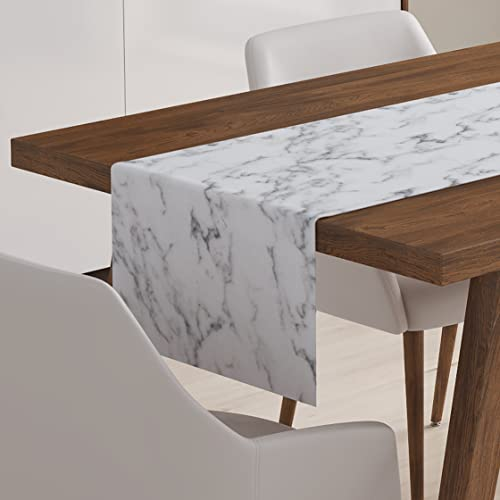 Marble Table Runner Cotton Dining Linen Decor Gray White Decoration Topper