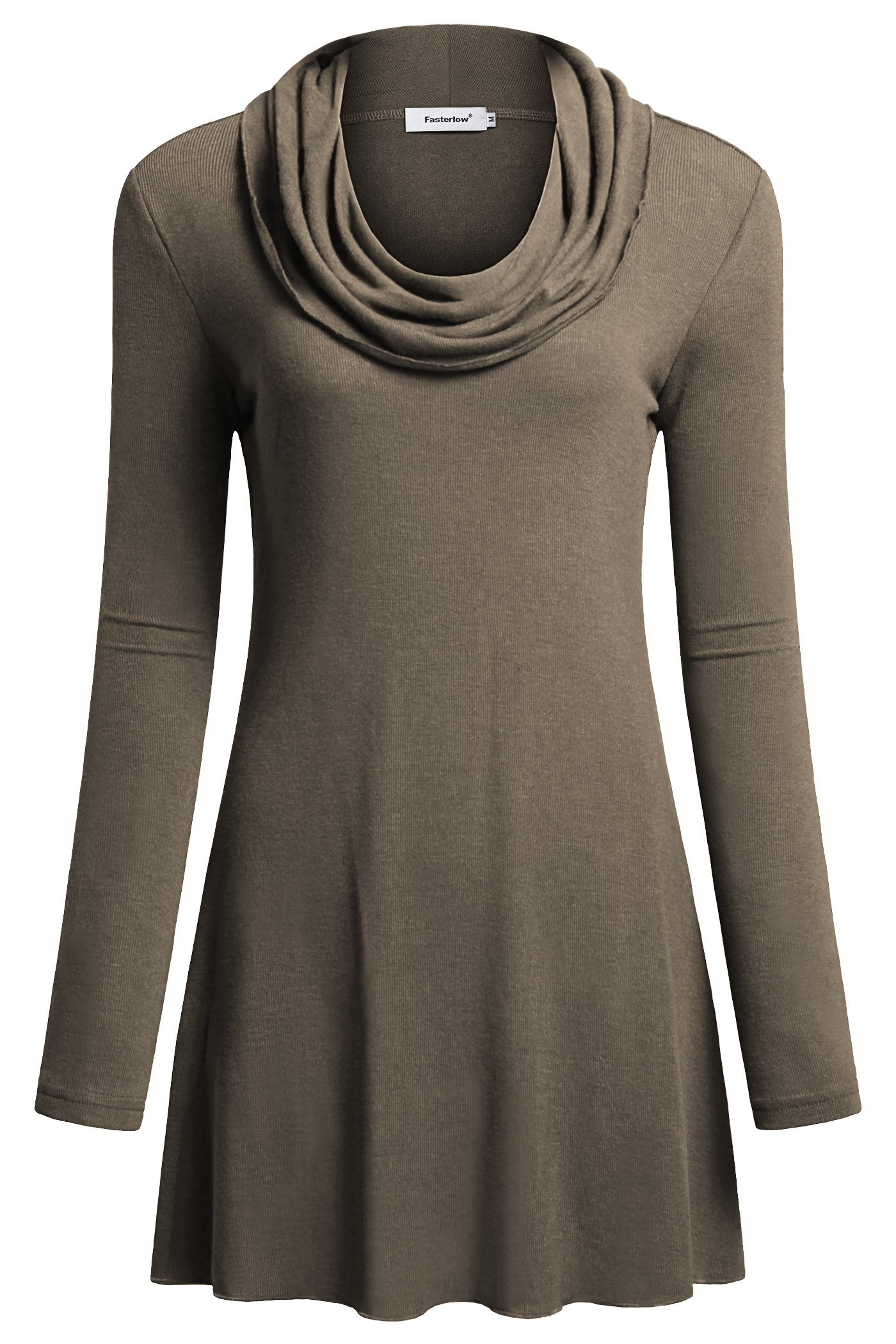Fasterlow Women Long Sleeve Fall Tunics Cowl Neck Top Flowy Casual Blouse Shirts, Brown, Large