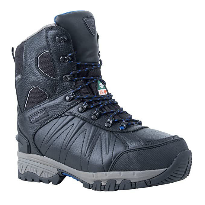 "RefrigiWear Mens Extreme Freezer Insulated Waterproof 8"" Leather Work Boot (Black, ..."