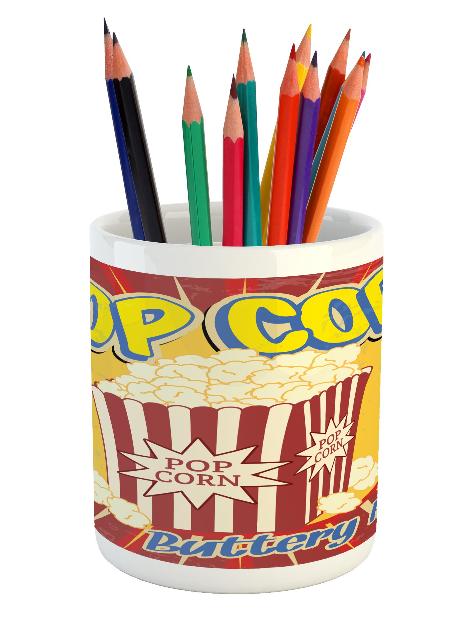 Ambesonne Retro Pencil Pen Holder, Vintage Grunge Pop Corn Commercial Print Old Fashioned Cinema Movie Film Snack Artsy, Printed Ceramic Pencil Pen Holder for Desk Office Accessory, Multicolor by Ambesonne