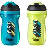 Tommee Tippee Insulated Sipper Tumbler, Blue and Green, 9 Ounce, 2 Count