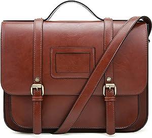 ECOSUSI Women Briefcase Vintage Crossbody Messenger Bag PU Leather Satchel Purse, Coffee