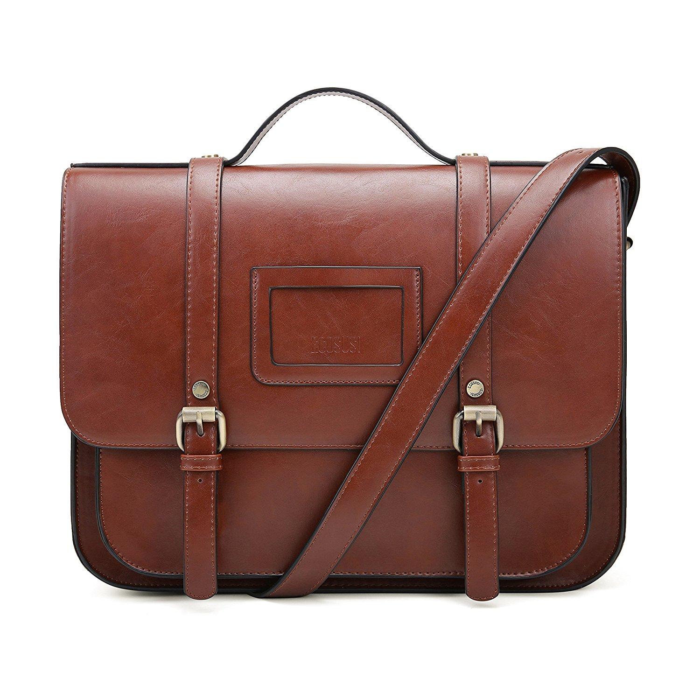 6f40606b8404 Amazon.com  ECOSUSI Women Briefcase Vintage Crossbody Messenger Bag PU  Leather Satchel Purse