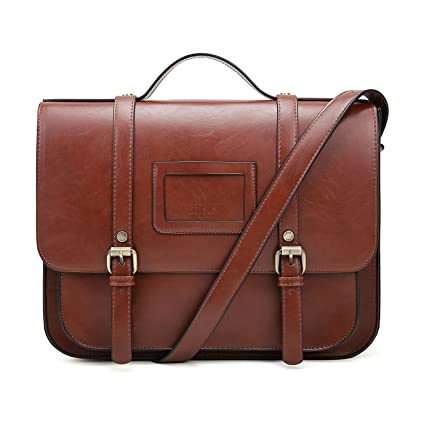 Amazon.com  ECOSUSI Women Briefcase Vintage Crossbody Messenger Bag PU  Leather Satchel Purse
