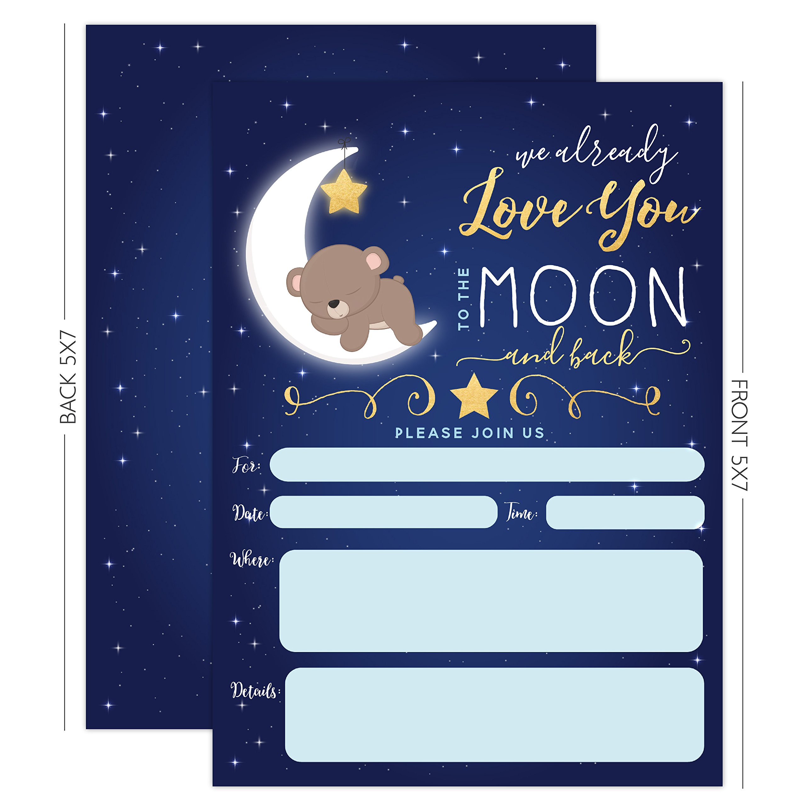 Boy Baby Shower Invitation, Love You To the Moon and back Baby Shower Invitation, Bear Baby Shower invite, Twinkle Twinkle Little Sar, 20 Fill in Invitations and Envelopes by Your Main Event Prints (Image #5)