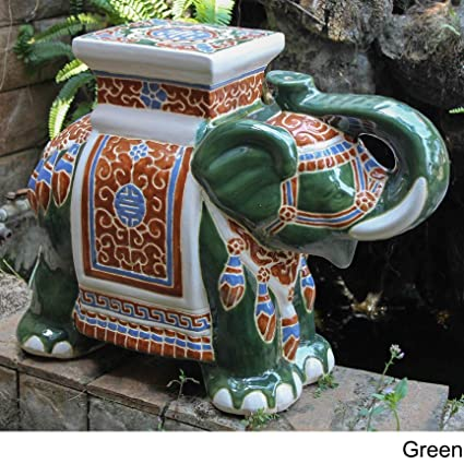 Incredible Amazon Com Large Porcelain Elephant Stool Green Garden Unemploymentrelief Wooden Chair Designs For Living Room Unemploymentrelieforg