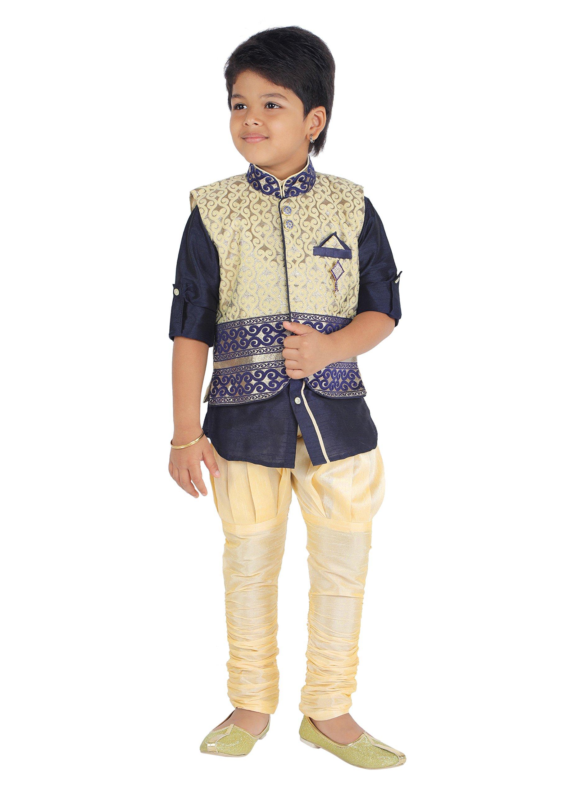 KLAUD ZEE Kids Ethnic Baby Boys' Indo Western Silk Festive and Party Wear Sherwani, Payjama Waistcoat Pant Set 6-7 Years, NAvy