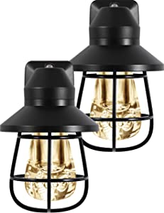 GE Vintage LED Night, Light Sensing, Auto On/Off, 2200K Warm White, Designer Look with Black Finish, Ideal for Home Office, Entryway, Kitchen, Bathroom and More, 44737, 2 Pack Cage