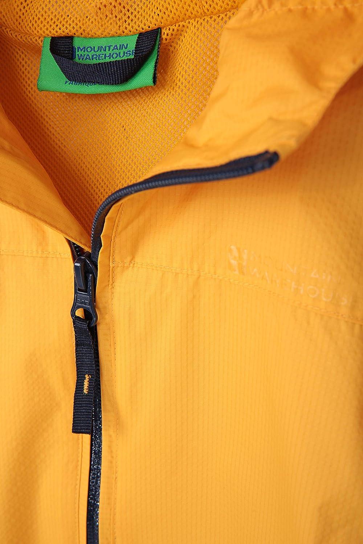 verstellbare Funktionen Wandern Fr/ühling Mountain Warehouse Torrent Wasserdichte Kinderjacke ideal zum Reisen versiegelte N/ähte Rei/ßverschlusstaschen Campen