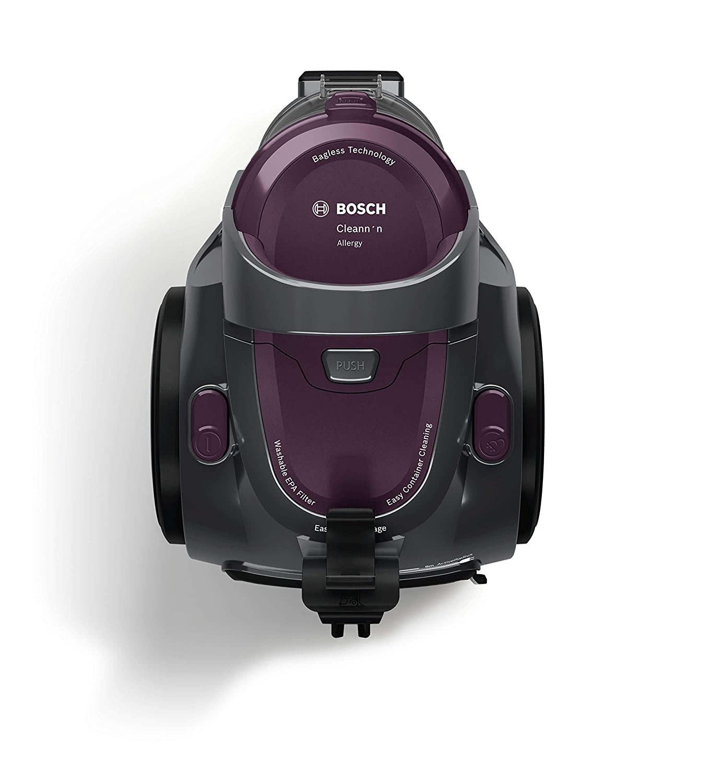 Bosch BGC05AAA1 GS05 Cleannn Aspirador sin Bolsa, Diseño Ultra-Compacto, Filtro Hepa H12 Lavable, 700 W, 1.5 Litros, 78 Decibelios, Violeta y Grafito