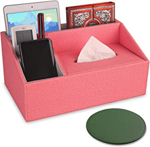 Sunewlx Desk Organizer/Tissue Box, Handmade Premium Leather Desktop Organizer with Tissue Box for a Neat Workspace Office & Home, 4 Compartments & Large Capacity (Rose - Tissue Box)