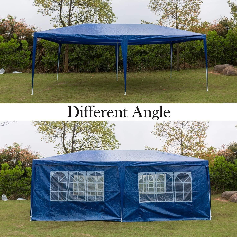 LxYfc b Jardín mirador, pérgola tienda azul PE pabellón de boda al aire libre toldo de fiesta en el jardín, 3x3m, 3x4m, 3x6m, completamente resistente al agua, (3x6m, con cremallera lateral, tipo