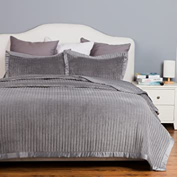 Velvet Quilt Coverlet Set Twin Size (68u0026quot;x86u0026quot;) 2 Piece Quilt Set