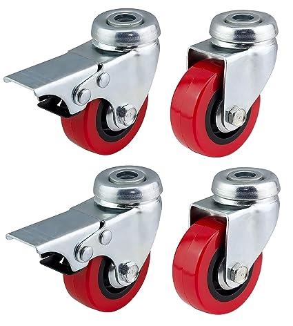 Bulldog Castors. Ruedas giratorias de poliuretano con frenos, de 50 mm, rojas, resistentes, para muebles, aparatos y equipos. Máx. 150 kg por juego