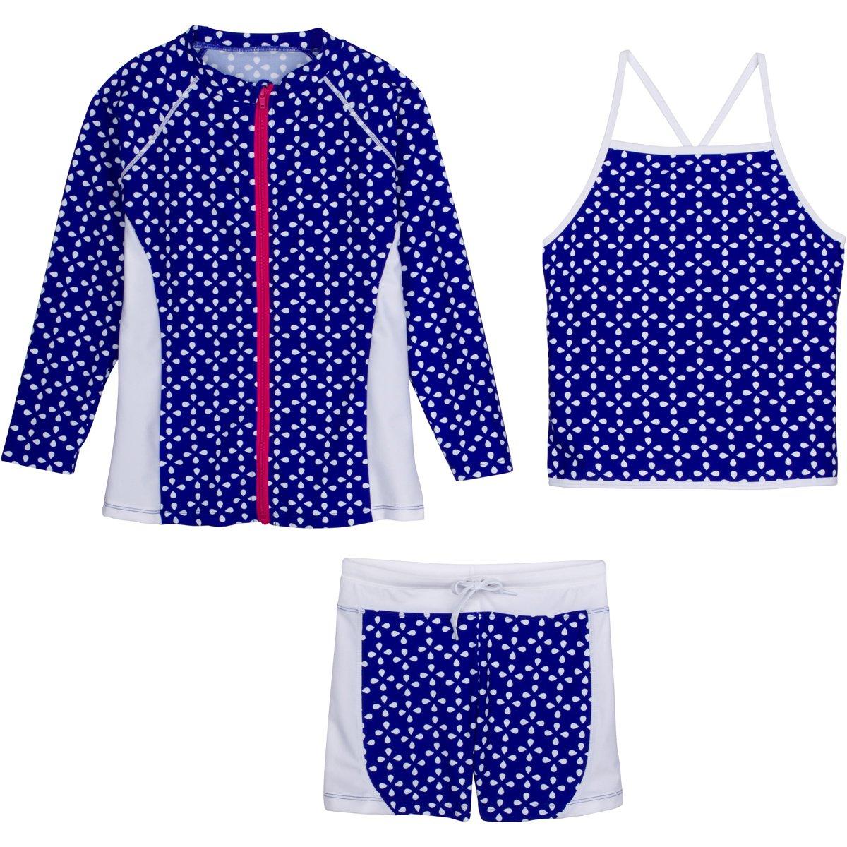 SwimZip Girls Long Sleeve Rash Guard Swim Shorts Set with UPF 50+ Navy 2T SZILSSHORTSET3PC34