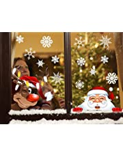 Tuopuda Sticker Snowflakes Christmas Snowman Elk Window Decoration DIY Xmas Window Decals Christmas Decorations Reusable Static Adhesive Sticker (White)