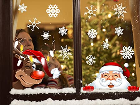 Babbo 4 Natale.Tuopuda 4 Fogli Adesivi Finestra Natale Fiocchi Di Neve Babbo Natale Alce Per Natale Finestra Babbo Natale Alce Amazon It Casa E Cucina