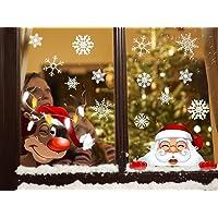 Noël Autocollants Fenetre Flocons de Neige Autocollants DIY Mignonne Renne Père Noël pour Noël Accueil/Boutique Décorations Autocollant Amovibles Statique Autocollants
