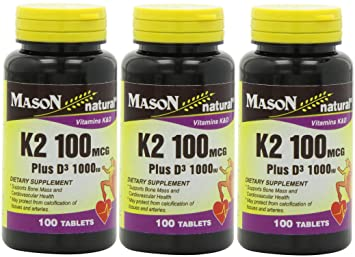 Amazon.com: Mason Natural Vitamin K2 100 mcg Plus D3 1000 IU Tablets 100 Count per Bottle Pack of 3 Total 300 Tablets: Health & Personal Care