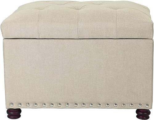 Decent Home 24 inch Fabric Storage Ottoman Lift Top Rectangular Foot Rest Stool