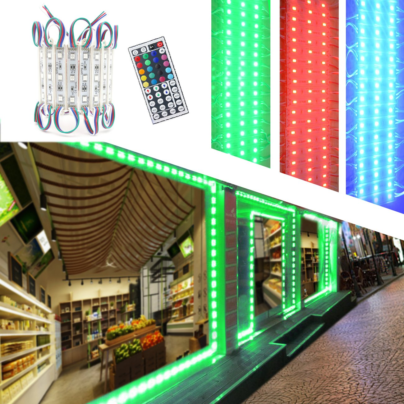 Storefront Lights, Pomelotree 2 Pack 3 Led 40PCS 5050 Super Bright LED Module Lights Waterproof Decorative Light with Tape Adhesive for Store Window Lighting and Advertising Signs by Pomelotree (Image #2)
